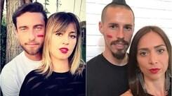 Calciatori e compagne uniti per #unrossoallaviolenza