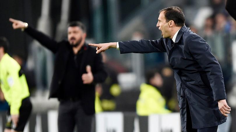 Juventus-Milan atto quinto: Allegri per un poker da leggenda, Gattuso per l'Europa