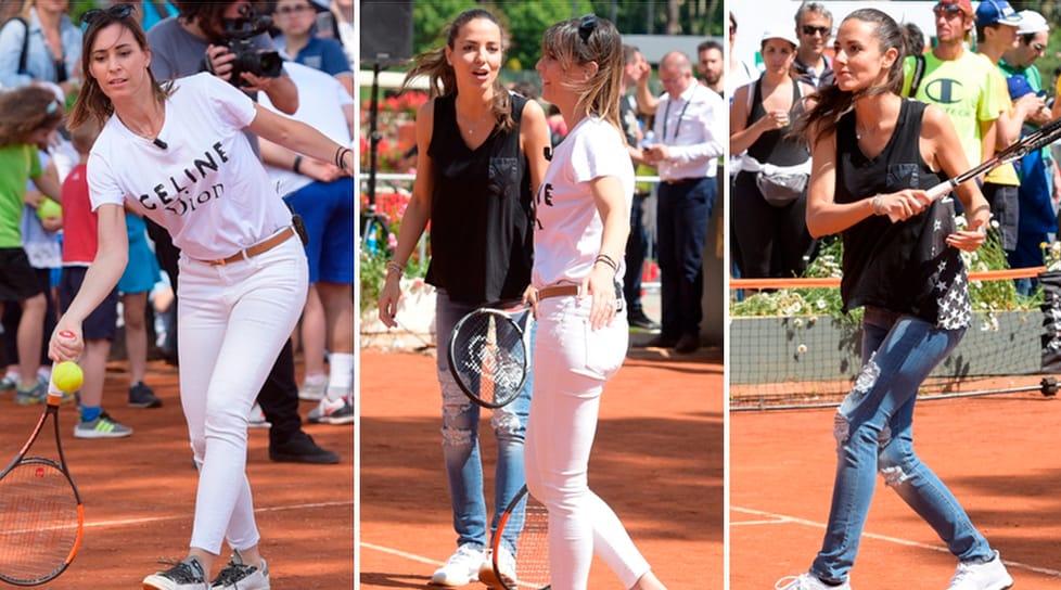L'ex tennista e l'attrice hanno regalato spettacolo al Foro Italico
