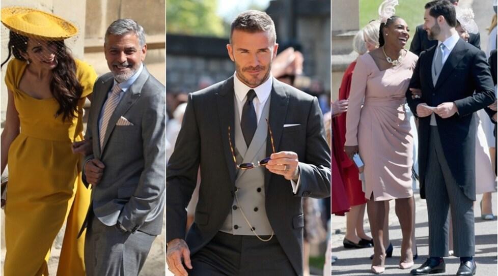Tra gli invitati al matrimonio reale del principe Harry e l'attrice americana Meghan Markle anche l'ex calciatore con la moglie Victoria, l'attore americano e altre stelle dello spettacolo e dello sport