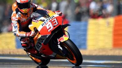 MotoGp Francia: Marquez è il più veloce nel warm up, Rossi 5°