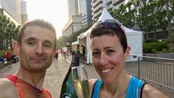 Emanuele Manzi e Valentina Belotti al via dell'Allianz Vertical Run