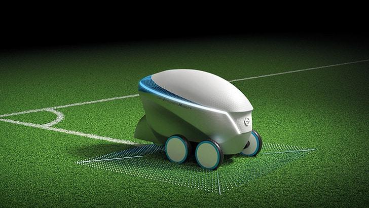 Pitch-R, il robot Nissan disegna i campi di calcio