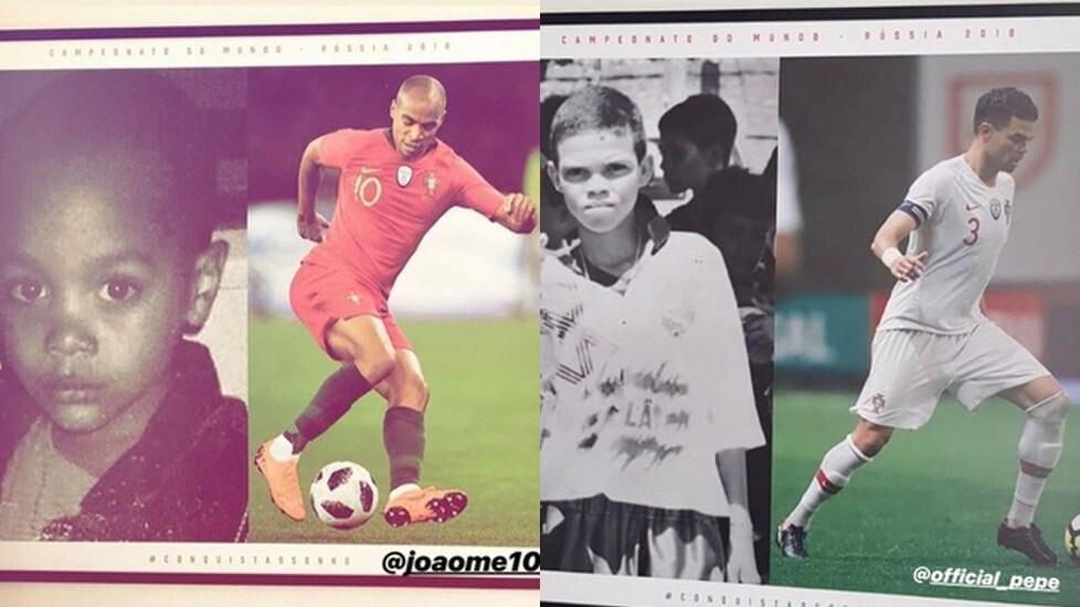 """Nelle stanze del ritiro in Russia, la Federazione portoghese ha messo a confronto le immagini dei calciatori in due epoche diverse: da bambini e da campioni affermati: """"Conquistiamo un sogno"""""""