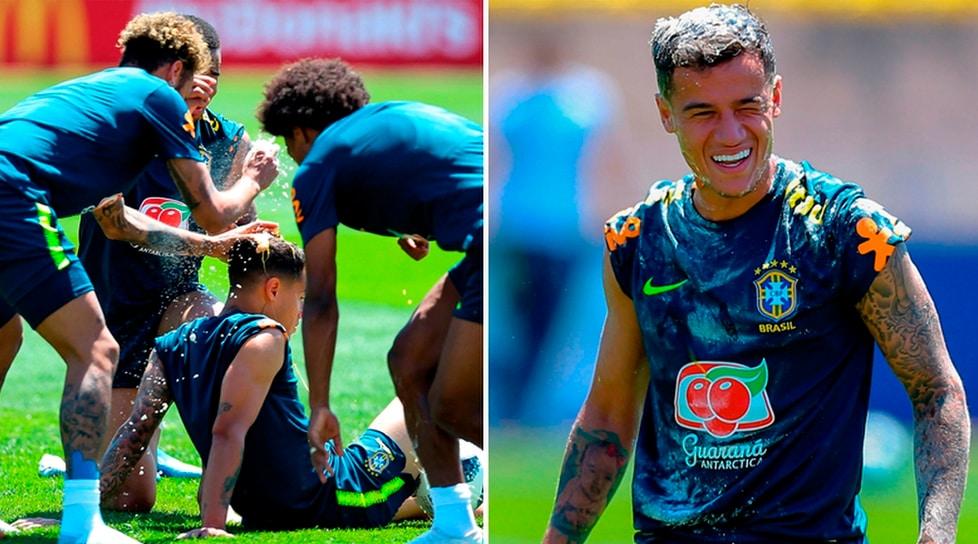 E' il compleanno dell'attaccante del Barcellona: il Brasile si diverte in allenamento