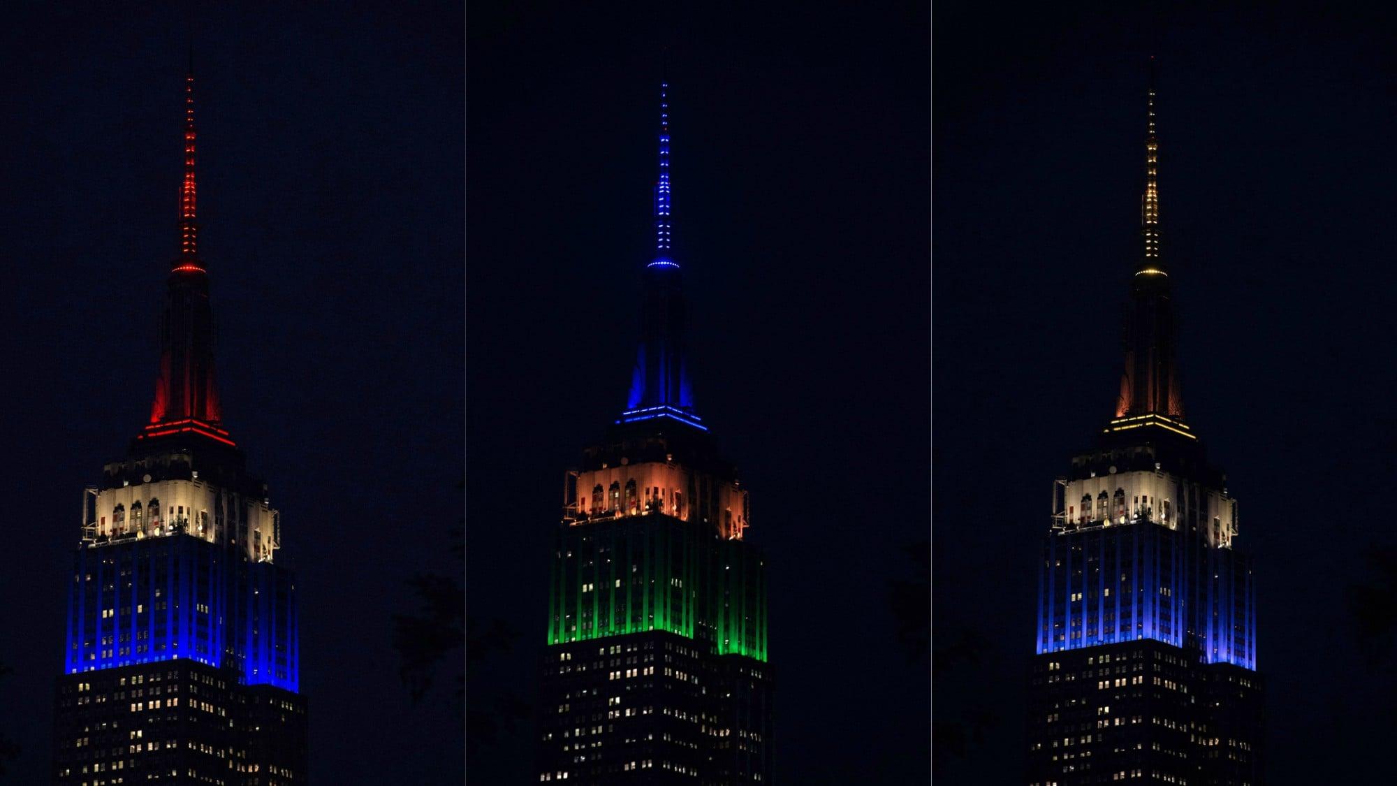 New York ha reso omaggio all'inizio del torneo iridato con una proiezione di luci su uno dei palazzi più iconici del mondo