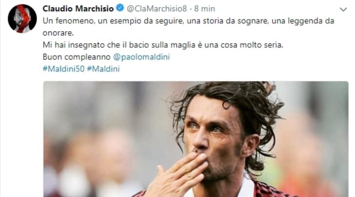Marchisio, auguri a Maldini: «Mi hai insegnato che il bacio alla maglia è una cosa seria»