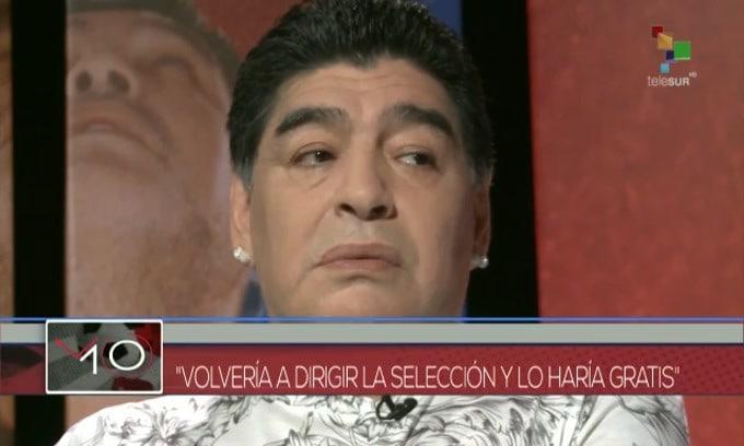 Maradona a Telesur: «Torneri gratis per l'Argentina»