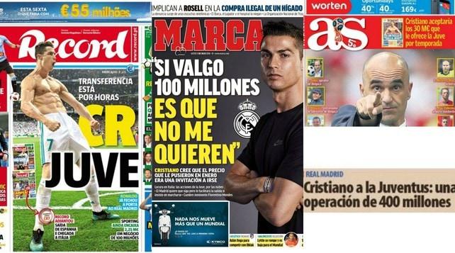 Ronaldo-Juve sui giornali iberici: «Affare imminente»
