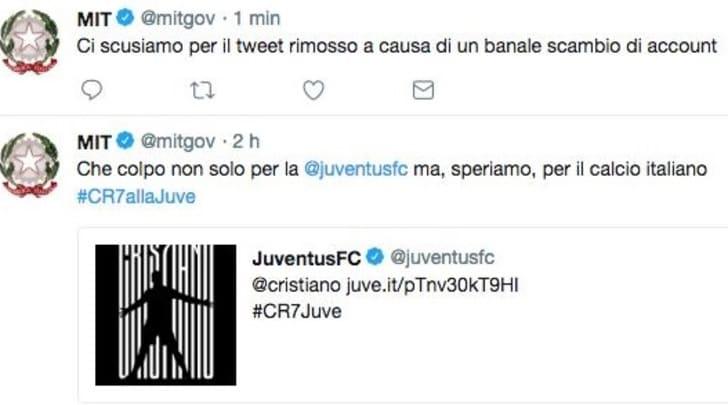 Juve-Ronaldo, festeggia anche il Ministero dei Trasporti. Ma è un errore