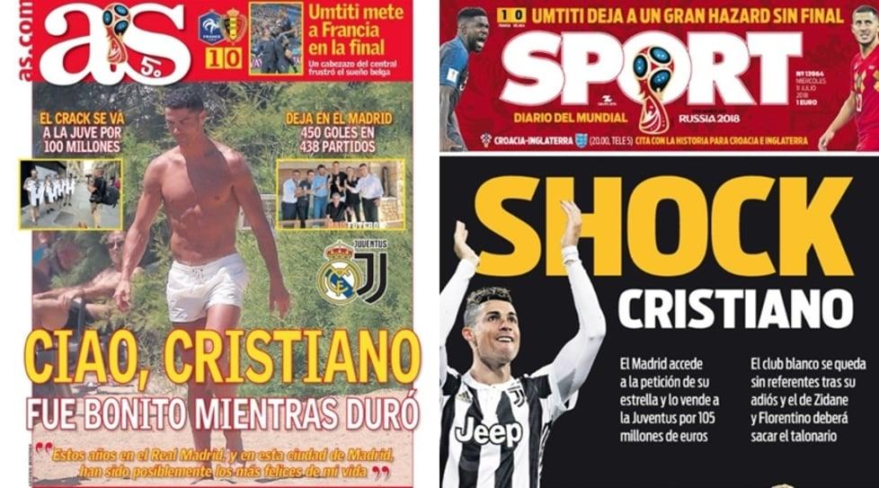 """Marca: """"Non ce ne sarà un altro uguale"""". Sport: """"Shock Cristiano"""". Ecco come i giornali stranieri hanno accolto la notizia del trasferimento del fuoriclasse portoghese alla Juventus"""