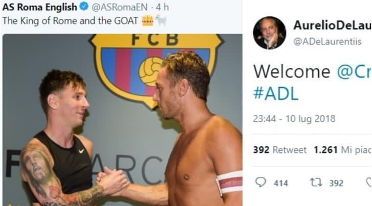La Roma punge la Juve: «Messi il più grande». De Laurentiis:«Più sale e più pepe»