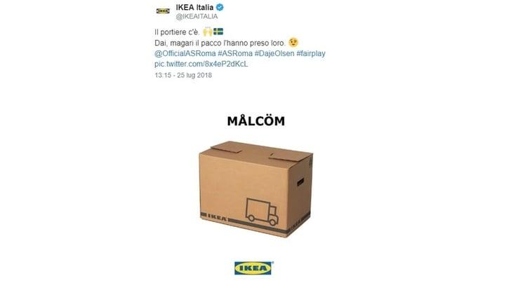 Roma, Ikea ironizza su Malcom: «Magari il pacco l'hanno preso loro»