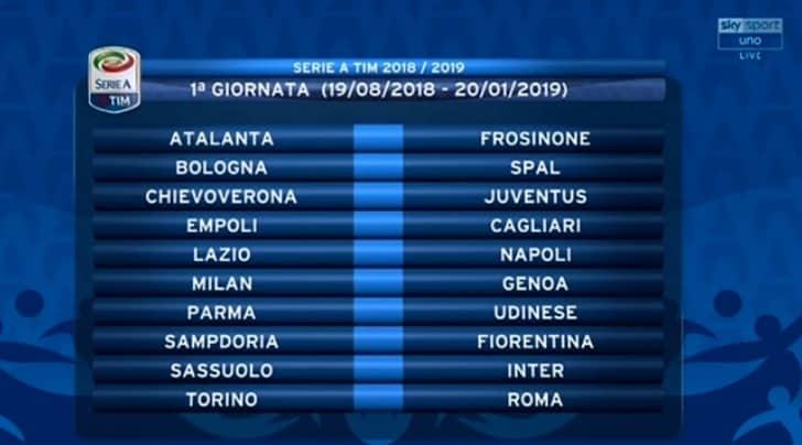 Calendario Serie A Seconda Giornata.Calendario Serie A 2018 19 Tutte Le Giornate Tuttosport