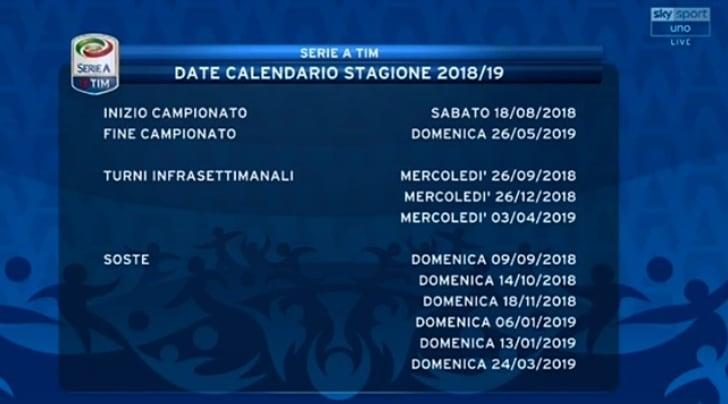 Calendario Serie A 2018/2019: le soste e i turni infrasettimanali del campionato