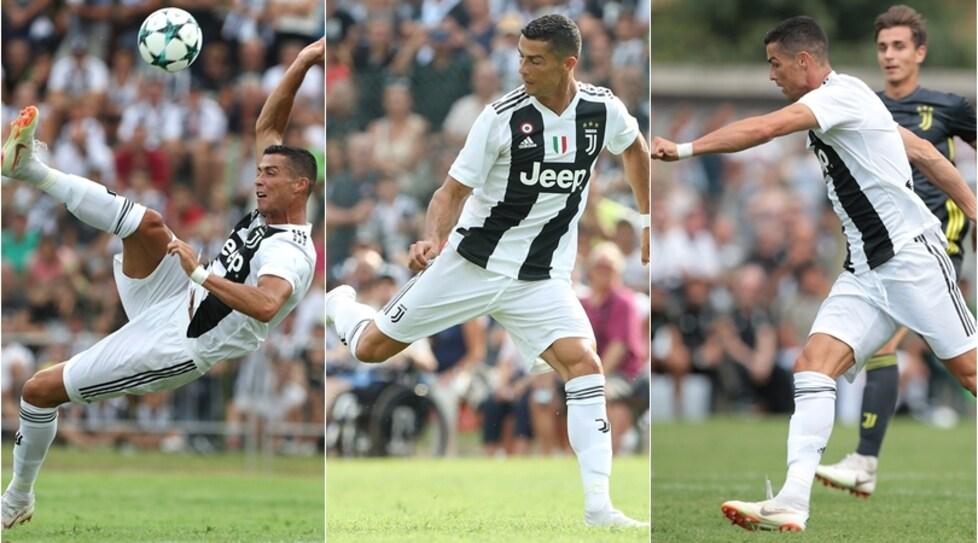 Le foto della tradizionale partita tra Juve A e Juve B a Villar Perosa. Il portoghese a segno dopo appena otto minuti