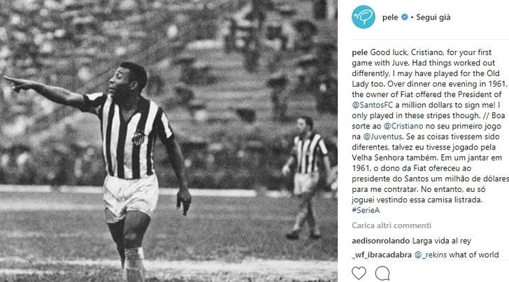 Pelé, auguri a Ronaldo: «Anch'io sono stato vicino alla Juventus»