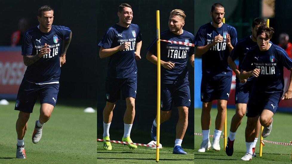 Gli Azzurri di Roberto Mancini questa mattina si sono allenati a Bologna in vista della sfida di Nations League contro la Nazionale di Fernando Santos in programma lunedì sera (ore 20.45) a Lisbona