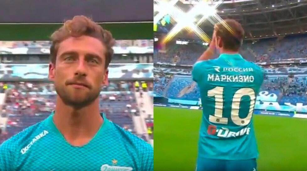 L'ex centrocampista della Juventus ha salutato i suoi nuovi tifosi prima dell'amichevole contro il Kairat di Arshavin: eccolo con la maglia numero 10