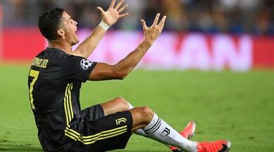 Valencia-Juventus, Ronaldo in lacrime dopo l'espulsione