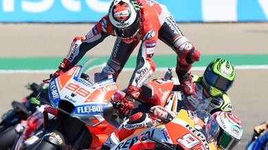 MotoGp Aragon, Lorenzo contro Marquez: «Sono andato largo per la sua entrata»
