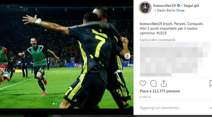 Festa Juve sui social. Bonucci: «Insisti. Persisti. Conquisti»