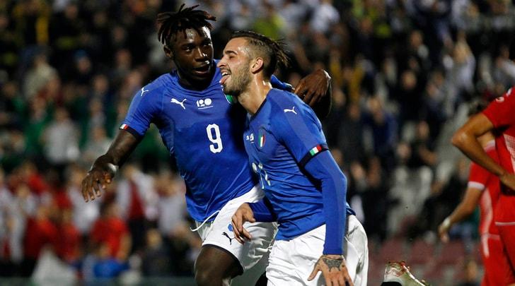Under 21, l'Italia c'è: 2-0 alla Tunisia con Parigini e Kean