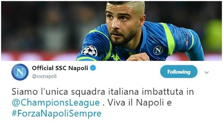 Champions League, la Juventus perde e il Napoli twitta: «Solo noi imbattuti»