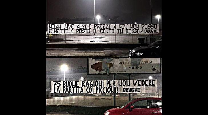 Caro biglietti, gli ultras della Juventus protestano contro Milan