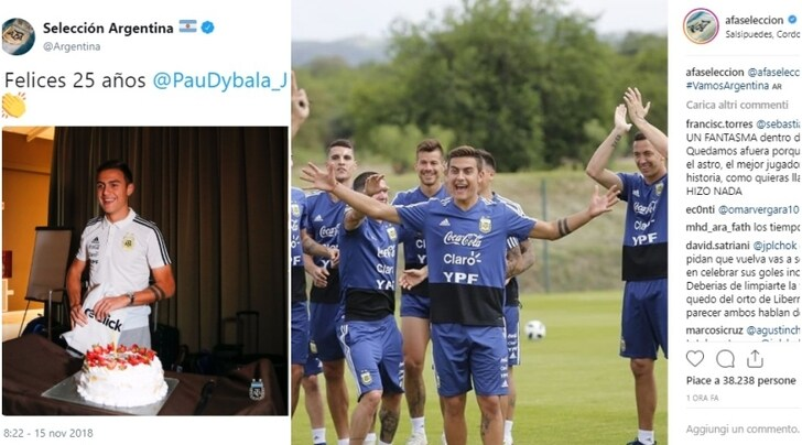 Argentina, che festa in ritiro per Dybala!