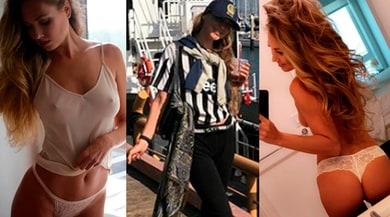 Nora Segura show, la modella indossa la maglia della Juventus