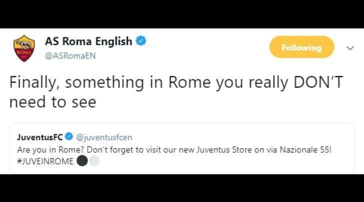 Juventus, dalla Roma una frecciata via social
