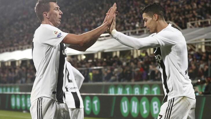 Juventus spietata a Firenze: 3-0 con Bentancur, Chiellini e Cristiano Ronaldo