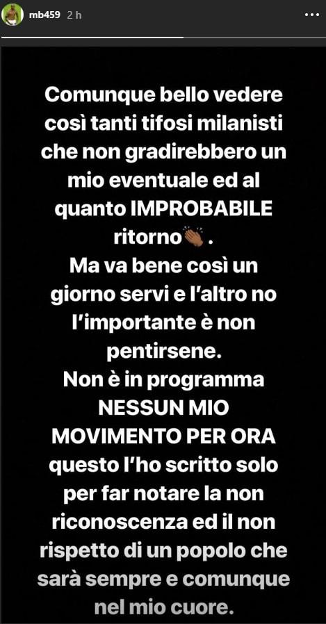 Balotelli:«Tifosi Milan irriconoscenti»