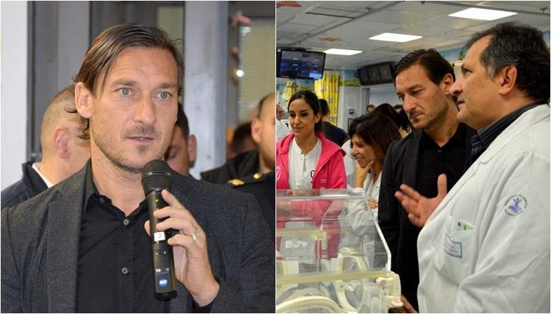 Visita a sorpresa dell'ex Capitano della Roma al nosocomio pediatrico della Capitale: parteciperà attivamente ai progetti futuri