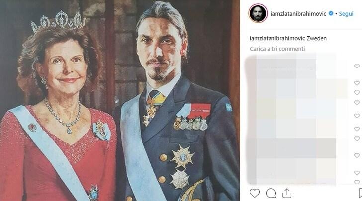 """Sua maestà Ibra """"posa"""" con la regina Silvia: Sono io il re di Svezia!"""