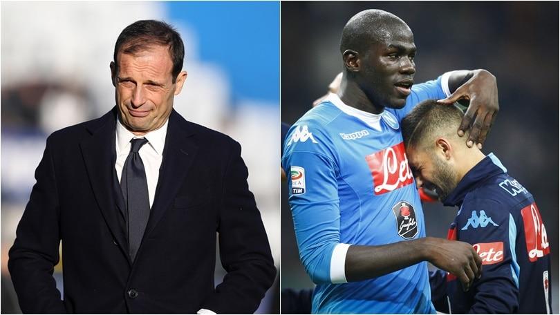 10 mila euro di multa a Juventus ed Allegri, due turni a Insigne e Koulibaly