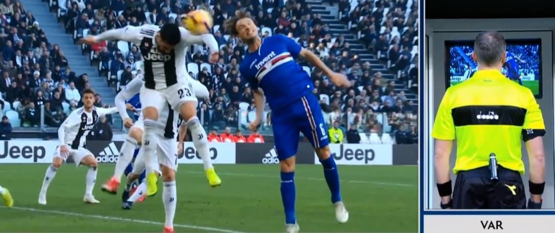 Juventus-Sampdoria, la sequenza del fallo di mano di Can