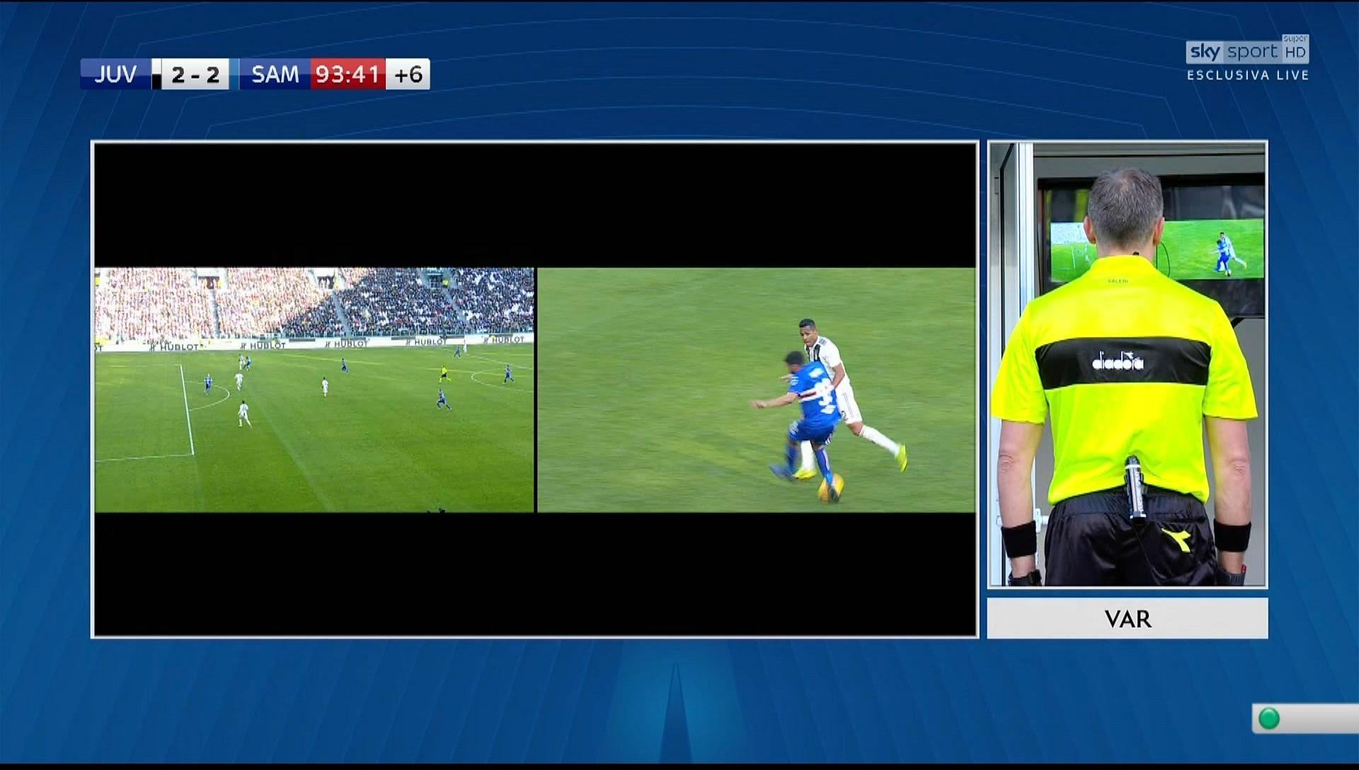 Juventus-Sampdoria, il Var cancella il gol al 92' di Saponara