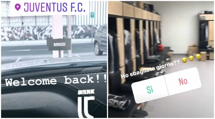 Juventus, Bonucci è già alla Continassa: «Ho sbagliato giorno?»