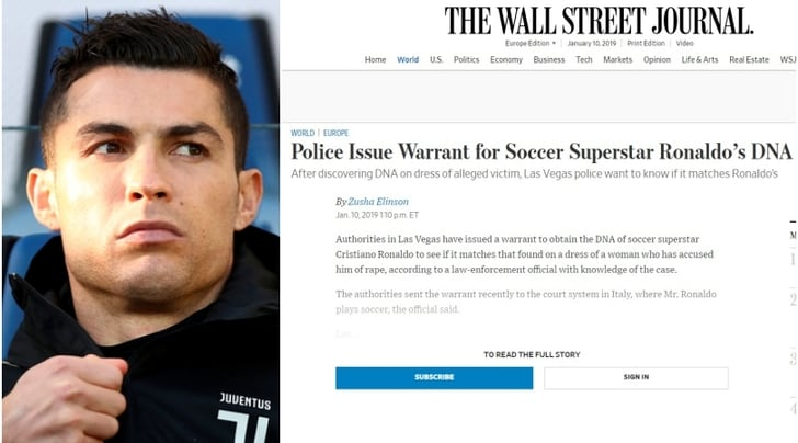 Wall Street Journal: «La polizia di Las Vegas chiede il test del Dna a CR7»