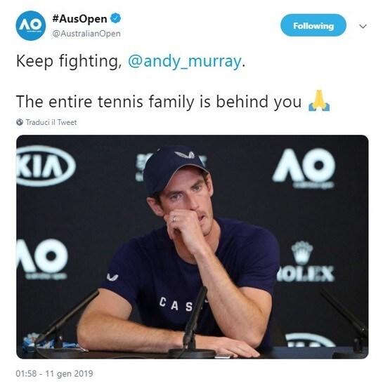 Lo scozzese ha annunciato l'addio, forse a Wimbledon, più probabilmente prima. I messaggi via Twitter, tra gli altri, di Andy Roddick e Juan Martin Del Potro, di Billie Jean King e Grigor Dimitrov