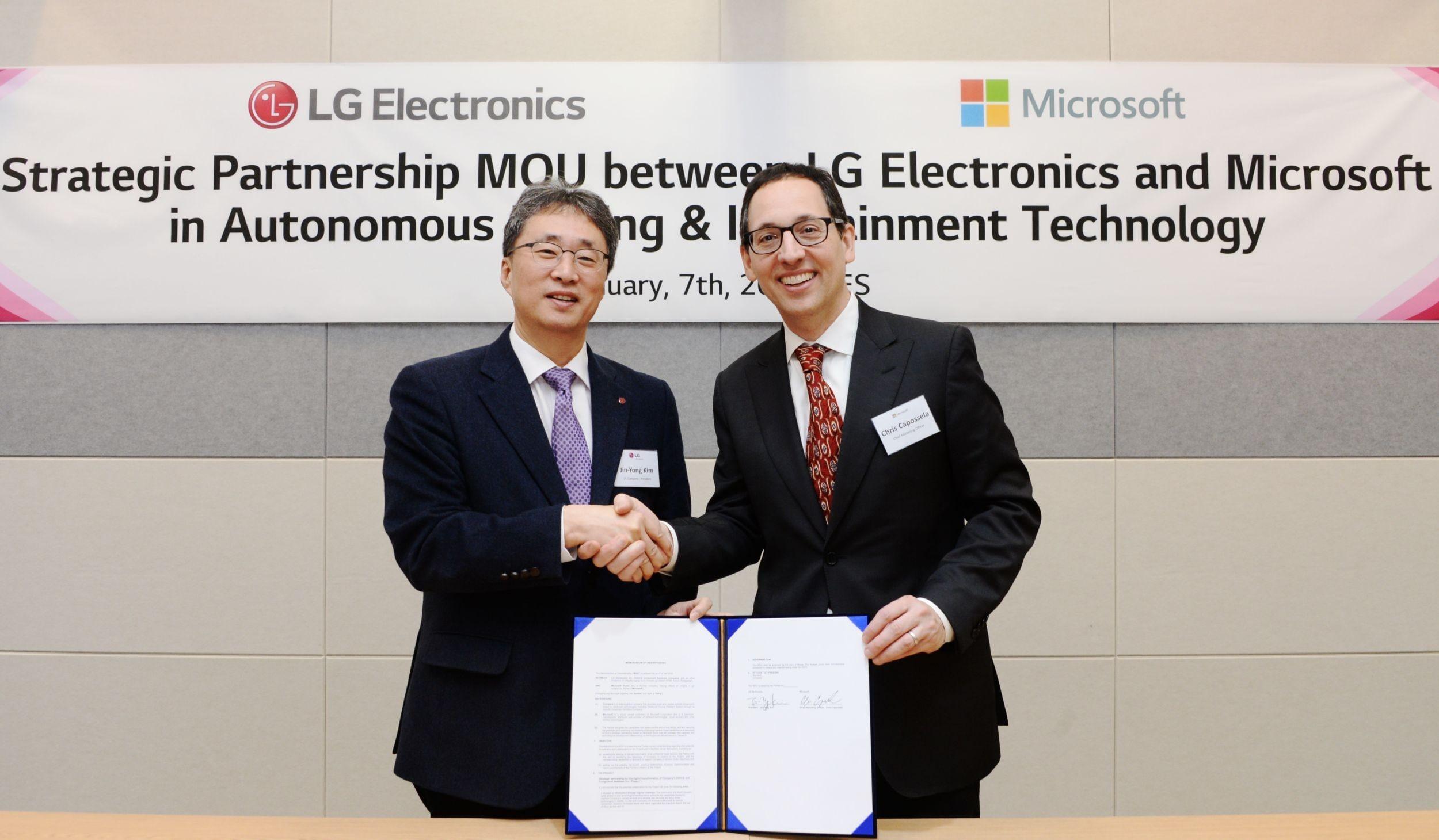LG e Microsoft, accordo per la guida autonoma