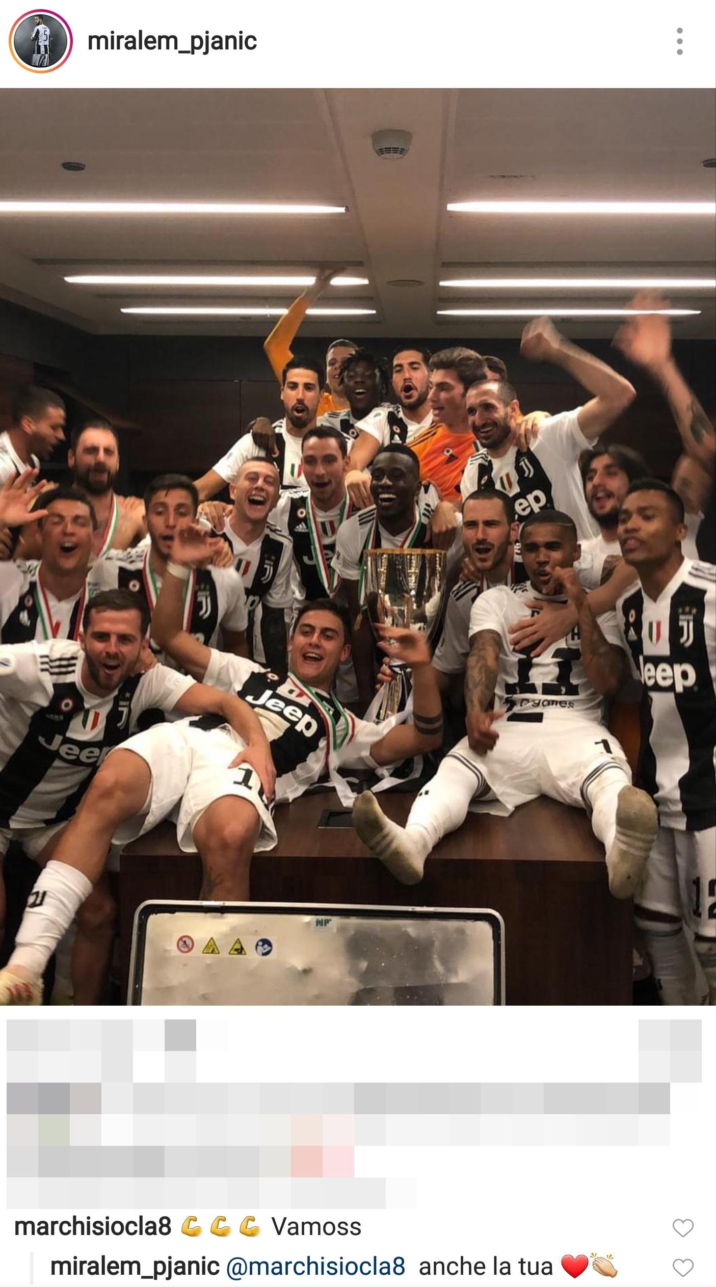 Marchisio, che gioia per la Supercoppa: «Complimenti ragazzi»