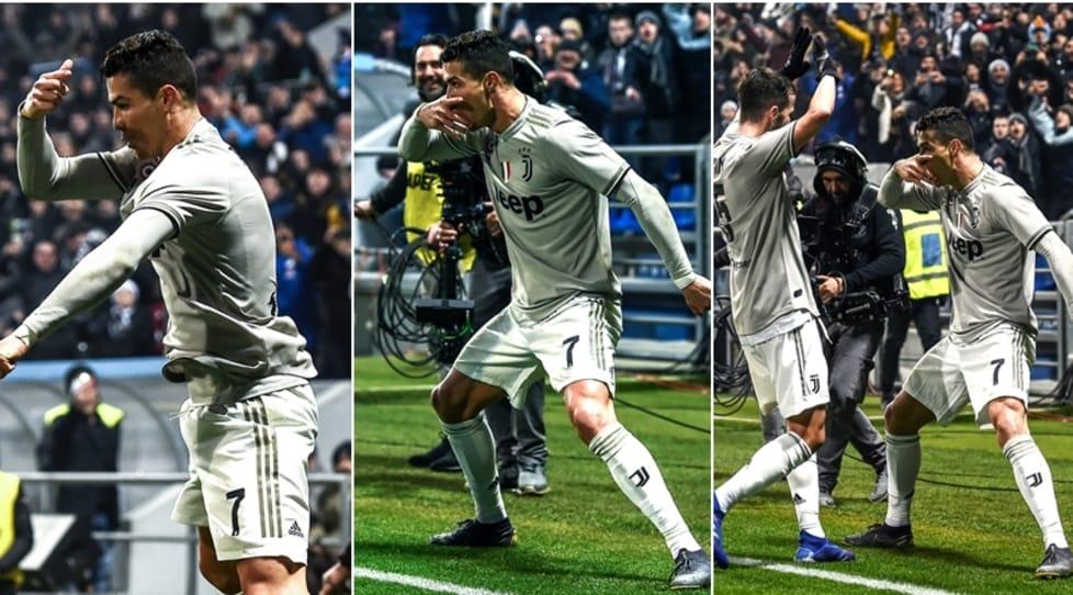 Il portoghese ha esultato come il suo compagno di squadra coprendosi il volto con la mano