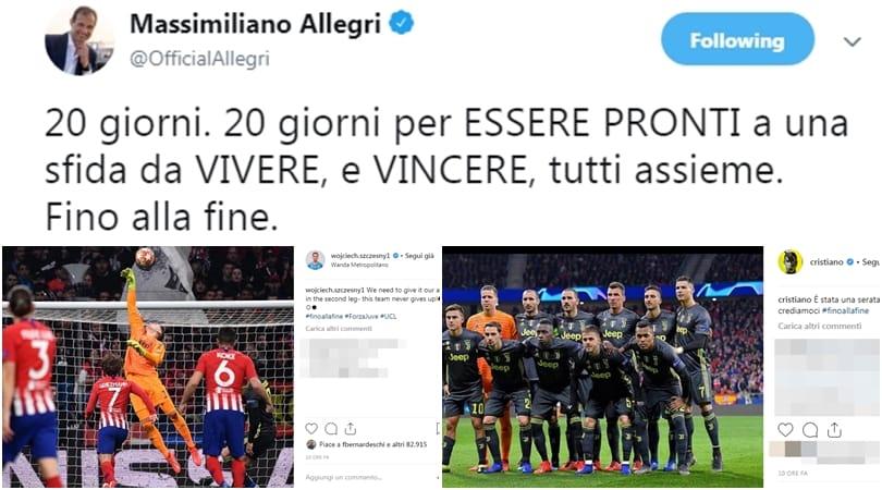 Da Ronaldo a Szczesny, la Juve si carica sui social: «Fino alla fine»