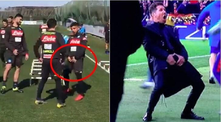 Napoli-Juventus, Insigne si prepara e fa il gesto di Simeone in allenamento.