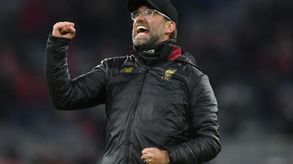 L'allenatore dei Reds esulta dopo la vittoria in trasferta contro il Bayern Monaco nel ritorno degli ottavi di finale