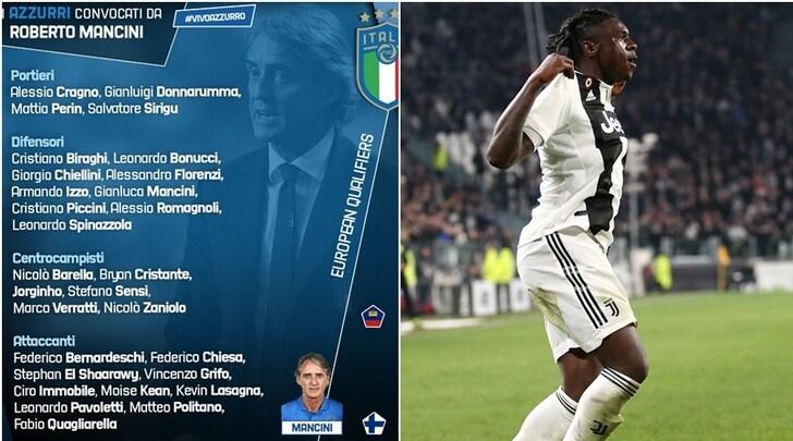 Italia, ecco i convocati di Mancini: c'è Kean, escluso Belotti