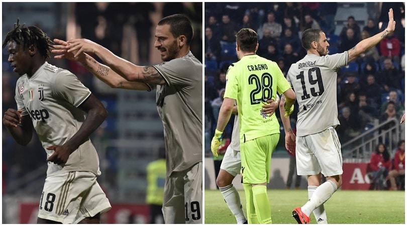 Cagliari-Juventus: Kean esulta, Bonucci lo porta via e si scusa
